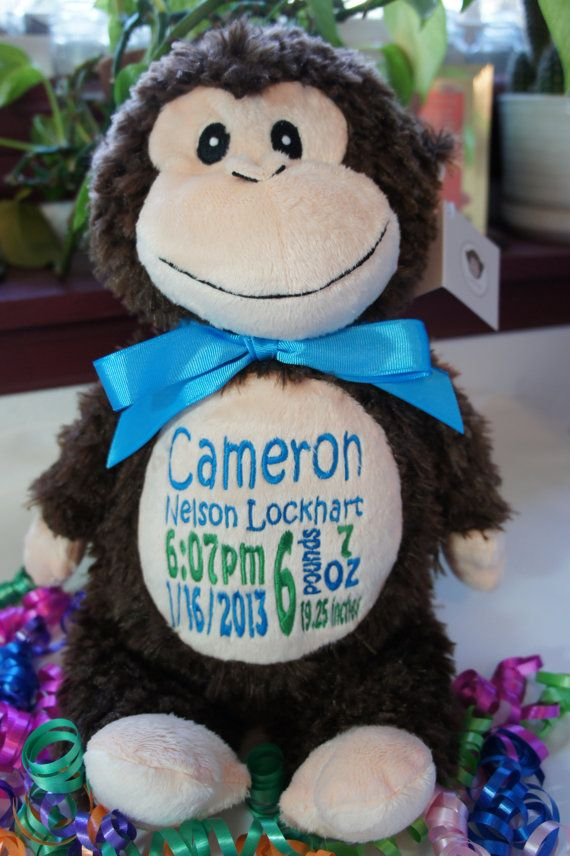 57 best cubbies images on pinterest cubbies personalized baby personalized baby gift baby cubby huggles the monkey a plush stuffed animal keepsake with machine embroidered birth information negle Image collections