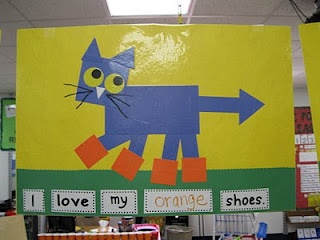 Pete the Cat. We did this in our class already this year. Great way for the kids to practice cutting and positional words.