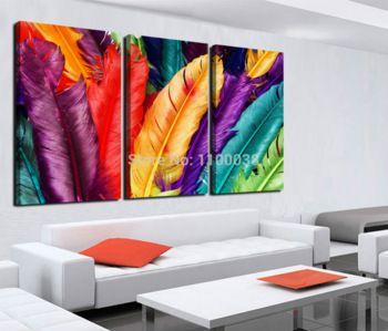 Nueva llegada del envío gratis decoración del hogar moderno de la lona Wall art, impresión fresca de plumas de colores de pintura al óleo, imagen p337