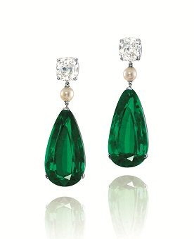 emerald, pearl and diamond earrings