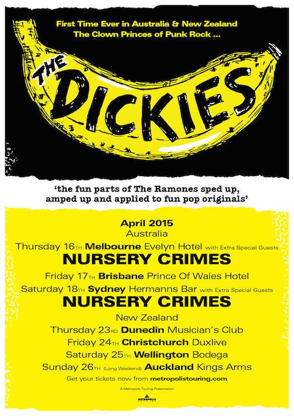 The Dickies Australian Tour Poster 2015.  For tickets visit: http://www.metropolistouring.com/tour.php?tour=2015_dickies