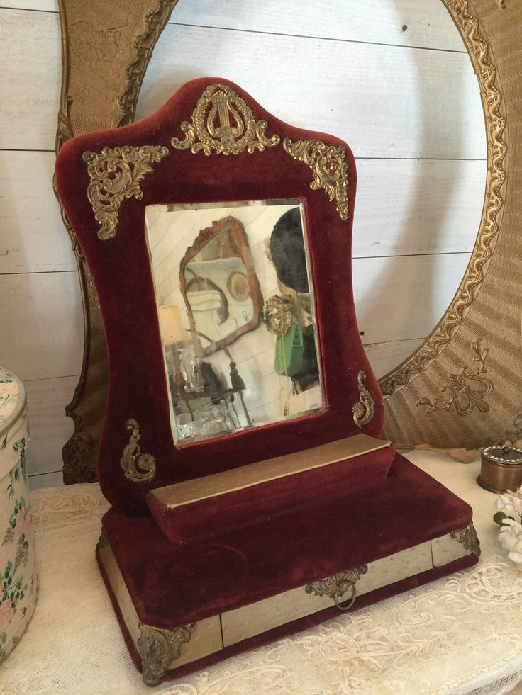 French Antique Burgandy Red Velvet Victorian Jewelry Box Harp Embellished  Upright Tabletop Dresser Beveled Mirror The