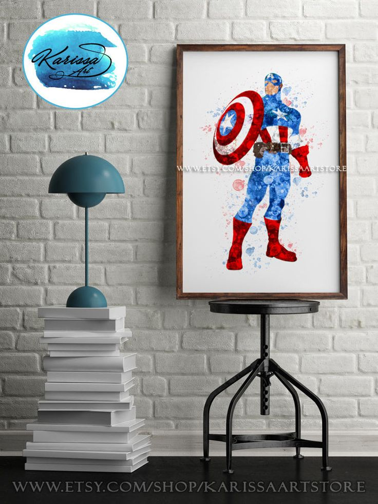 Captain America, Art Print, Marvel, Superhero Wall Art, Kids Wall Art,  Superhero Avengers, Watercolor Poster, Home Decor, Nursery, Gift
