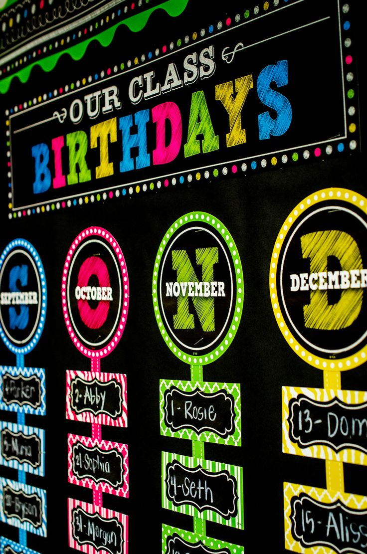 "Chalkboard Brights Our Class Birthdays Mini Bulletin Board - Students will love to see their names displayed on this colorful birthday mini bulletin board. The header piece measures 21"" x 5"". Includes 12 months with colorful matching strips and 36 cards for writing students' names. 61 total pieces."