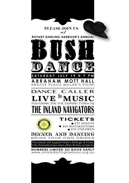 Rotary bush dance poster graphic design for nonprofits