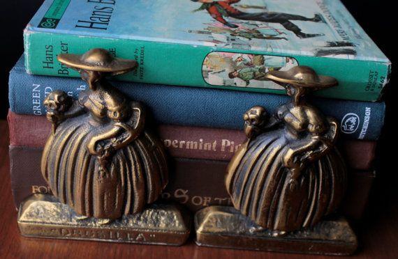 Antik Messing Buchstützen Drusilla Buchstützen Haushaltswaren Vintage Startseite Living Dekor Messing Mädchen Blumen Retro-Bibliothek-Weihnachtsgeschenkideen