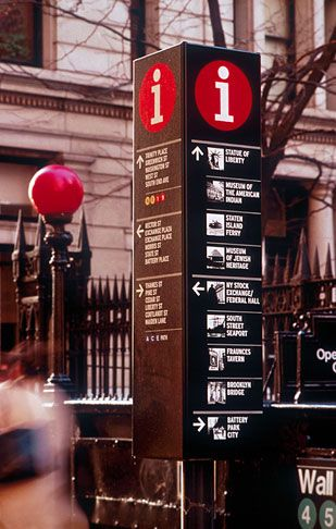Regulatory, retail and wayfinding signage redesigned for the Business Improvement District, an initiative to revitalize the commerce of lower Manhattan.