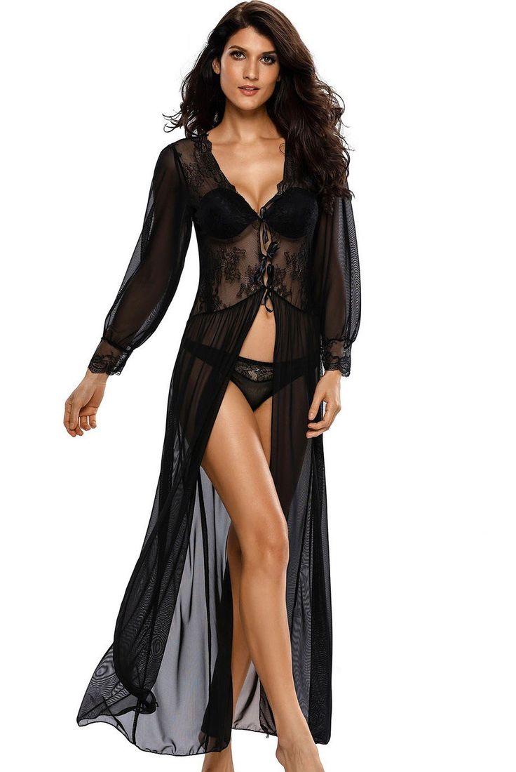 Robe Lingerie Sensuelle Dentelle Noir Manches Longues avec Thongs Boudoir Pas Cher www.modebuy.com @Modebuy #Modebuy #Noir