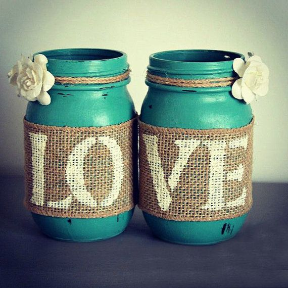 Chic Decor Jars-Mason Jar Decor,Jars with LOVE, Cottage Home Decor,Rustic Decor,Turquise Decor,Shabby Chic Decor,Decor Vases,Rustic Signs