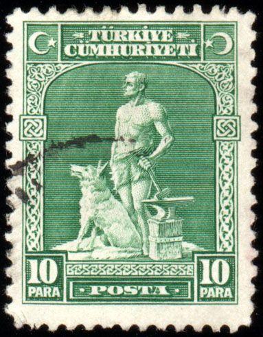 Türk Pulları-Demirci ve Bozkurt (1930)- Yeni Türk Harflerinin kabulünden sonra (benzer bir pul 1929'da da çıkarılmıştır.)