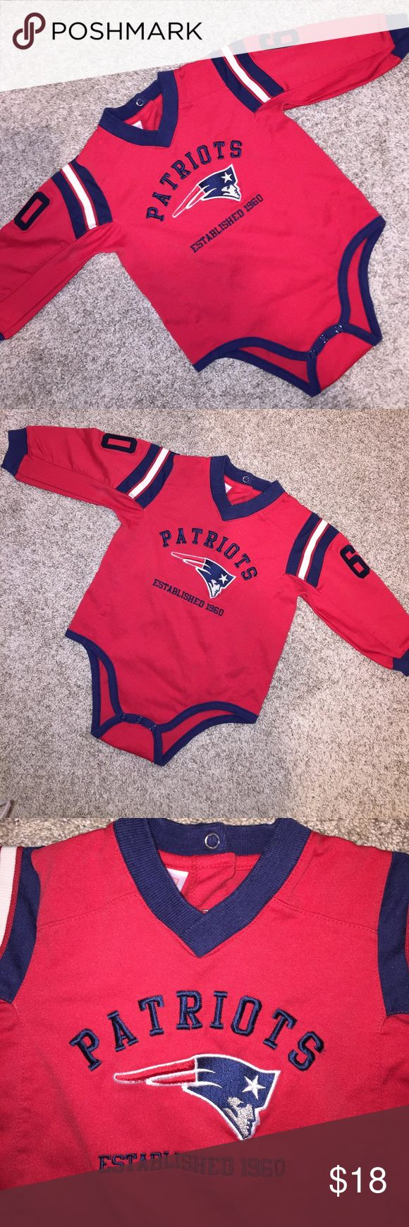 NFL Patriots One-Piece size 18 months worn 1x Cute NFL Patriots One-Piece size 18 months worn 1x. Snaps between legs for easy changes. Excellent Quality. Perfect for your Little New England Patriots Fan. NFL Shirts & Tops
