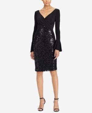 Lauren Ralph Lauren Petite Floral-Sequin Dress - Black 14P