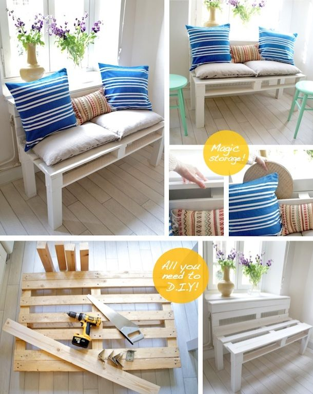 Diy palette bench would like to have a bench like this for the balcony - so simple and cute