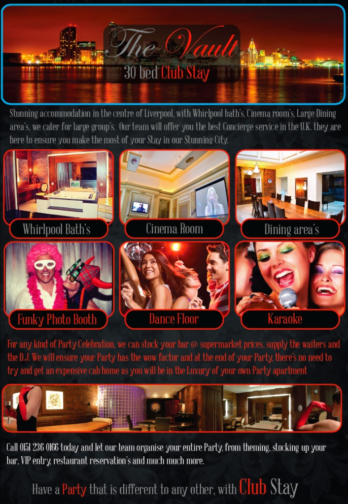 Club Stay, Party Hotel, book your own club and stay the night in the centre of Liverpool's amazing City x x x x