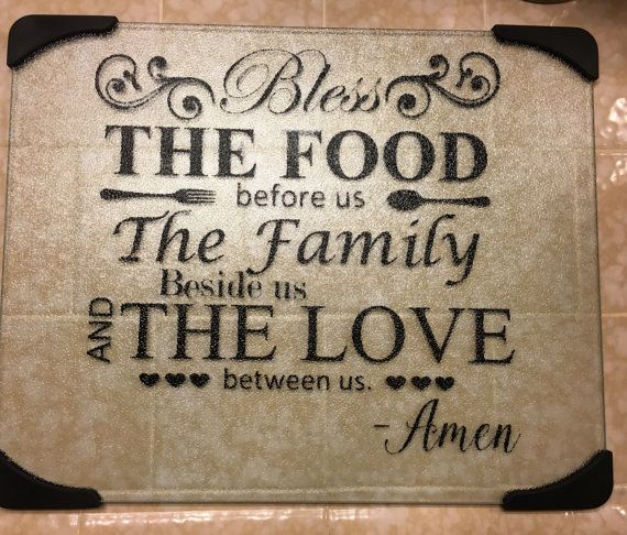 Glass cutting board//bless the food// bible by 2Honeybeescrafts
