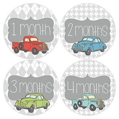 Set of 12 Monthly Keepsake Baby Stickers with Vintage Cars MOSB184