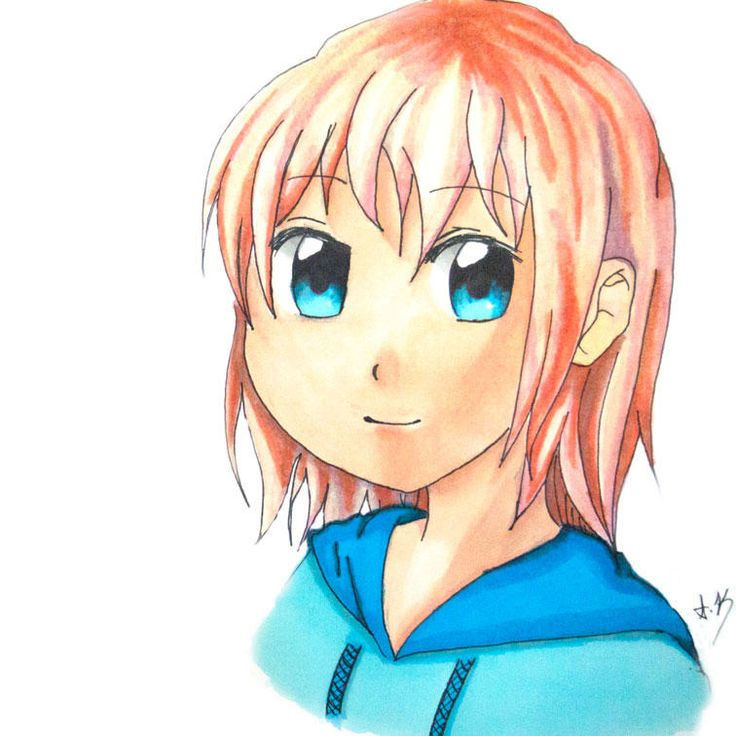 Manga girl Drawn using letraset promarkers manga sets.