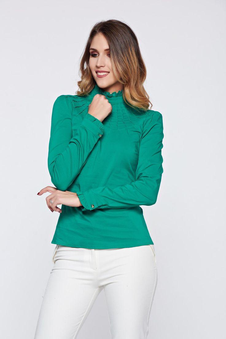 Fofy elastic cotton green office women`s shirt, women`s shirt, tented cut, back buttons fastening, Ruffled sleeves, long sleeves, thin fabric, elastic cotton