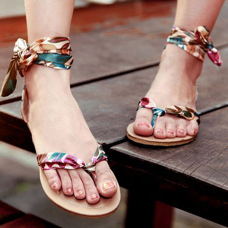 Casual Pu Thong Low Heel Casual Spring Summer Fall Curved Flat Sandals