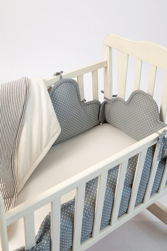 Baby cot bumper clouds Crib bumper baby crib by PocketsKidsKingdom