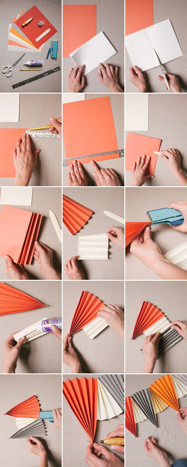 DIY Paper Fan Garland... So cool and bright | Oh Happy Day!