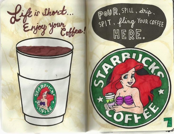 Wreck This Journal: Pages 6-7 Pour, Spill, drip, Spit, fling your coffee Here.