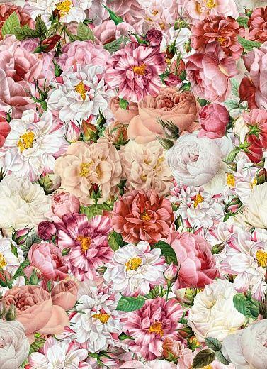 Designtapete von Barbara Behr mit Rosenbouquet-Motiv. Im klassischen Stil gehalten, zaubern Rosen Nostalgie an Ihrer Wände.