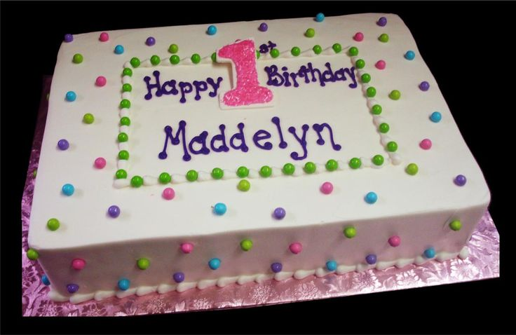 full sheets cakes decorated for women | ... 1st Birthday Cake White Buttercream Iced Sheet Decorated Picture