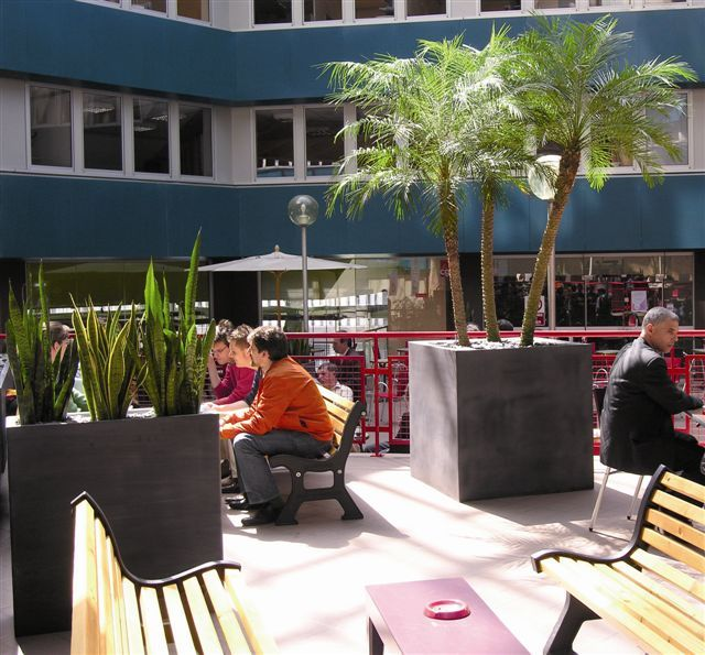 Exterior Cube And Rectangular Barrier Displays In An Outdoor Office  Courtyard Area See More On Our