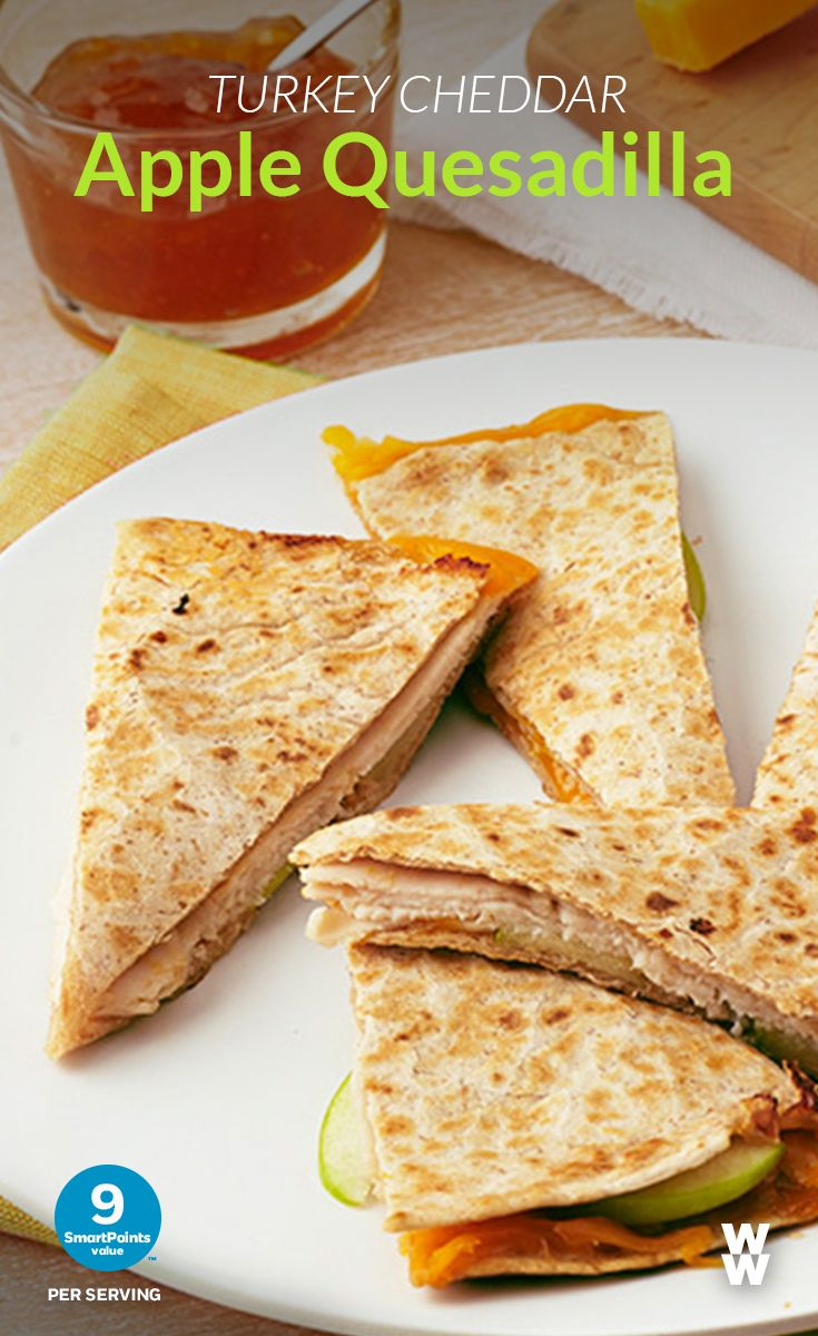 Turkey Cheddar Apple Quesadilla: 9 SmartPoints Value | A fruity twist on a Tex-Mex staple. Check out this Turkey, WW Cheddar and Apple Quesadilla recipe for a tasty and easy meal.