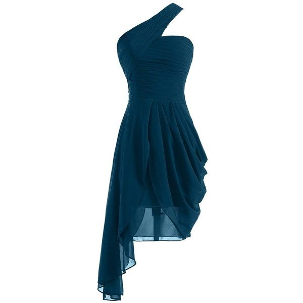 Sunvary 2015 New One Shoulder Chiffon Cocktail Party Dresses... ($86) ❤ liked on Polyvore featuring dresses, cocktail dresses, cocktail homecoming dresses, holiday cocktail dresses, blue dress and evening cocktail dresses