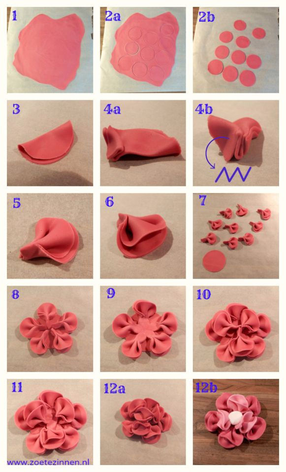 How-to roos / bloem van fondant variant 4. (How-to rose/ flower made of fondant or gumpaste).