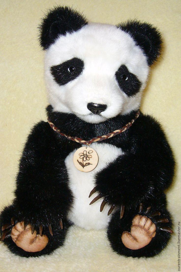 Купить Джиан. Панда тедди (33 см) - чёрно-белый, мишка ручной работы