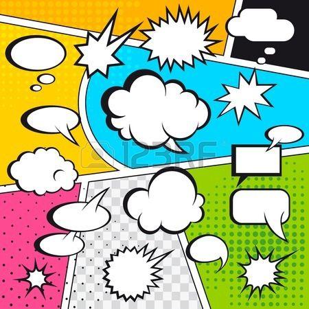 Comic tekstballonnen en stripverhaal op kleurrijke halftone achtergrond vector illustratie Stockfoto