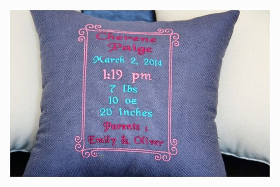 Personalized birth Announcement Pillow embroidered by KoTshop, $45.00