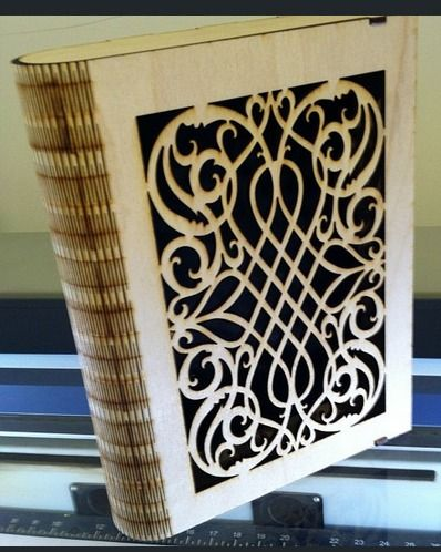 wooden book cover with vector art cut out