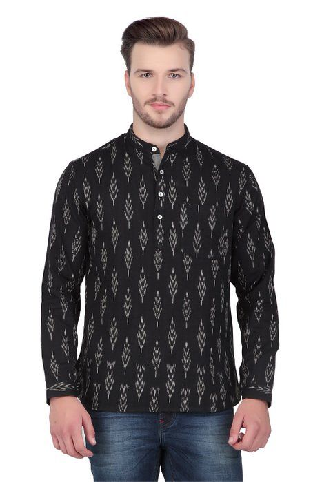 Shantraj men 39 s indian short kurta tunic ikat print banded for Linen shirts for mens in chennai