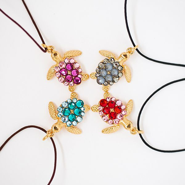 2017 Good luck charm Sea turtle jewelry - Handmade gold plated sea turtle (2 cm) with Swarovski stones in 4 different color combinations and cordon. By Ekaterini Jewellery Design.