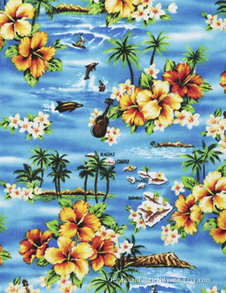Canvas fabric: Beautiful tropical beach theme and ukulele on a background of ocean blue. Check it out at HawaiianFabricNBYond.etsy.com