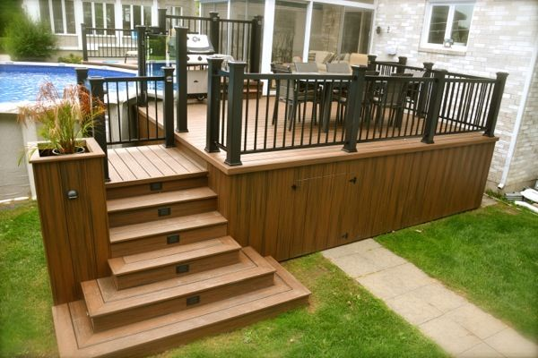Patios et deck de piscine projet ext rieur pinterest for Plan pour deck de piscine
