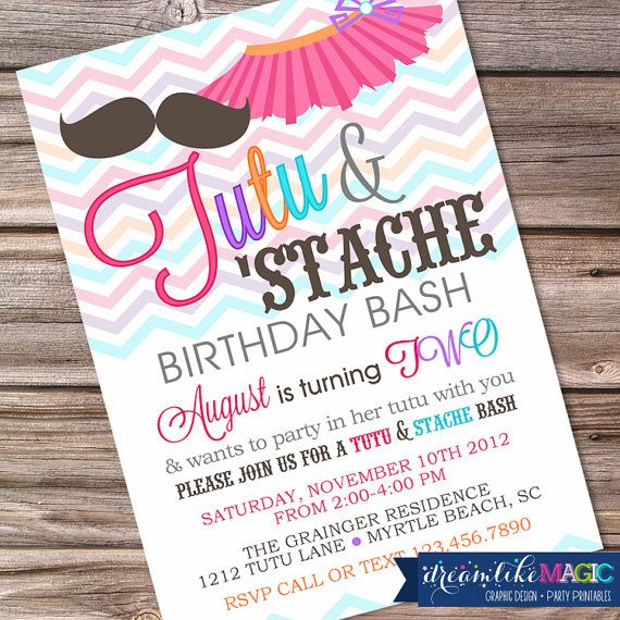 Printable Party Invitation Tutu and Stache Bash by DreamlikeMagic, $13.00