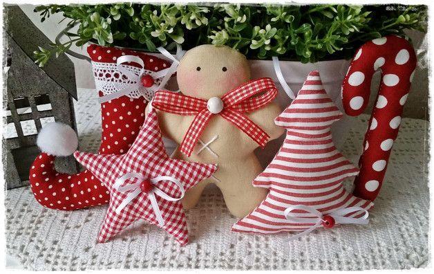 Deko-Objekte - Zuckerstange-Lebkuchen-Elfenstiefel-Stern-Girlande - ein Designerstück von Miss-Charmingbelle bei DaWanda