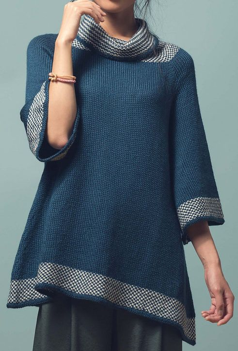 "Knitting Pattern for Kaolin Tunic - This swingy, flattering pullover is worked with simple two-color linen stitch trim at the hem, cuffs, and folded collar. Sizes 42½ (47½, 52¼, 57, 61¾)"" bust circumference. Worsted weight yarn. Designed by Moon Eldridge"