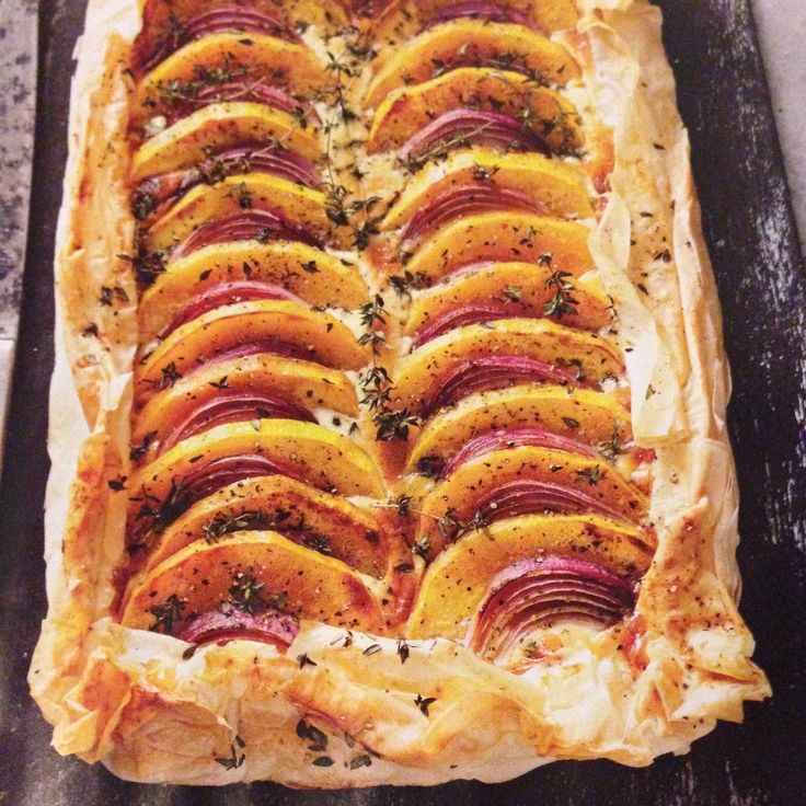 Pumpkin & Parmesan tart serves 6  600g butternut pumpkin 10 sheets filo 1/2 cup sour cream 1 egg 1/2 cup grated parmesan 1/2 red onion sliced fresh thyme  preheat oven to 200. Roast pumpkin until tender. mix cream, egg and parmesan together then pour on top on sheets of filo. Top with pumpkin, onion & thyme and bake for 20 minutes.
