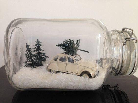 Vintage toy car, faux snow, mini trees.