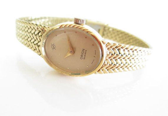 Orion Swiss Ladies Gold Watch, Vintage Gold watch, Chanpagne Face Watch, Vintage Watches, Skinny Metal Band Watch - Vintage 1960s