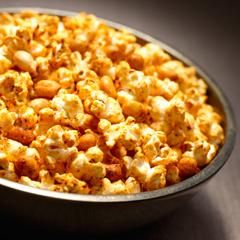 Chili Parmesan Popcorn & Peanuts...I would use real butter and possibly leave out the peanuts.  Will try original recipe just because.