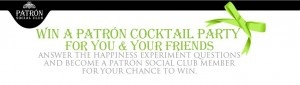 Enter The Patrón Tequila Happiness Experiment Sweepstakes and you could be hosting a Patrón Cocktail party for you and twelve of your friends! The prize includes specialty cocktail glasses, ice buckets, tongs, cocktail shakers, bar mats, ice trays, drink stirrers, and straws; Patrón aprons and Patrón Drink Maker books; non-alcoholic bitters and $750 to get that party rocking!!
