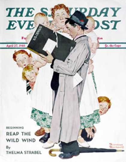 """1940-04-27: """"Census-taker"""" (Norman Rockwell) Saturday Evening Post"""