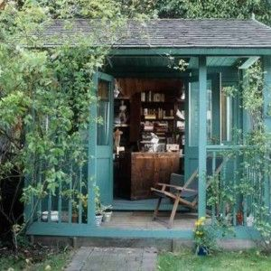 Painted Blue Garden Shed Home Office